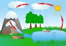 Вода цикла в окружающей среде природы. кислород иллюстрация штока