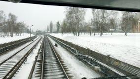 Водители взгляд поезда, сезон зимы стоковые изображения