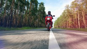 Водитель едет велосипед вдоль дороги леса акции видеоматериалы
