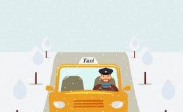 Водитель такси в равномерной крышке управляя желтым такси иллюстрация вектора