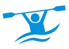Водные виды спорта, голубой значок вектора, canoeing Стоковые Фото