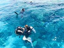 2 водолаза в черных костюмах скубы, человеке и женщине с бутылками кислорода тонут под прозрачное открытое море в море, th стоковое фото