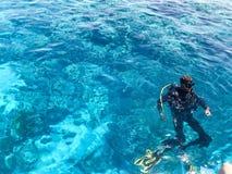 2 водолаза в черных костюмах скубы, человеке и женщине с бутылками кислорода тонут под прозрачное открытое море в море, th стоковое изображение