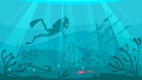Водолаз акваланга исследует крах корабля иллюстрация штока