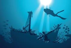Водолаз акваланга силуэта и кораблекрушение иллюстрация штока