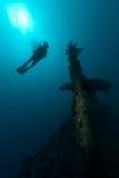 водолаз исследуя женскую развалину корабля скуба стоковое изображение rf