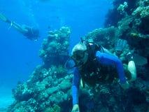 Водолаз и коралл скуба Стоковое Изображение