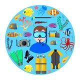 Водолаз со снаряжением для подводного плавания иллюстрация штока