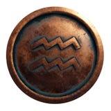 Водолей знака гороскопа в медном круге стоковая фотография rf