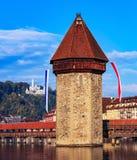 Водонапорная башня в городе Люцерна, Швейцарии Стоковое Изображение RF