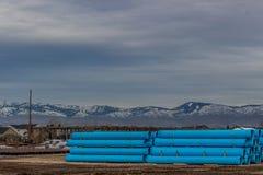 Водоотводная труба поставленная для строительства дорог зимы в Boise Айдахо Стоковое Изображение
