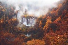водопады plitvice национального парка озер Хорватии sostavtsy Стоковое Изображение