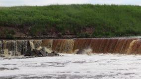 Водопады Sablinsky Немногое водопад Коричневая вода водопада Пороги на реке Сильная подача воды Двигатели wate акции видеоматериалы
