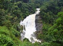 Водопады Valara в толстом лесе в Idukki, Керале, Индии - естественных обоях ландшафта Стоковые Фотографии RF