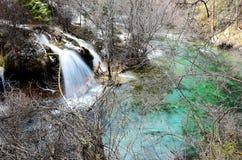 Водопад внутри парка долины jiuzhaigo сценарного стоковое изображение rf