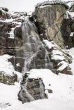 Водопад в горах на зиме Стоковые Изображения