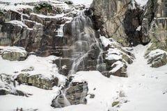 Водопад в горах на зиме Стоковое Фото