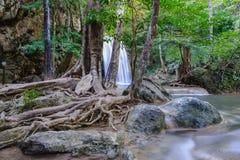 Водопад в тропическом глубоком лесе на национальном парке Erawan Стоковые Фото