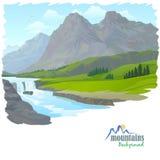 Водопад, гора, и долина иллюстрация вектора