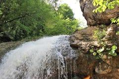 Водопад горы леса летом Нижний взгляд стоковые фото