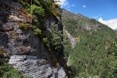 Водопад долины Непала Lukla Стоковые Изображения RF