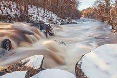 Водопад запруды в Швеции Стоковое Фото