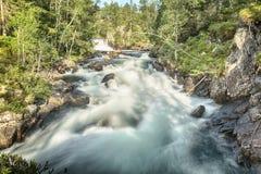 Водопад и река в Норвегии Стоковые Фотографии RF