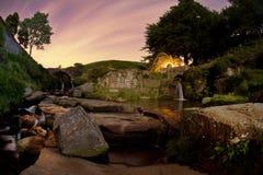 водопад ночи феиэрверка Стоковая Фотография RF