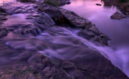водопад реки rapids сумрака Стоковая Фотография