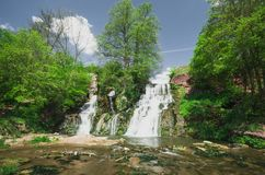 Водопад Dzhurin, около Chervonograd в Украине Стоковое Фото