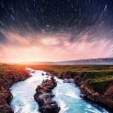 Водопад Hodafoss очень красивый исландский Оно расположено в северном близко озере Myvatn и кольцевой дороге сказово стоковое изображение rf