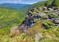 Водопад Pantschefall в гигантских горах Стоковые Фото