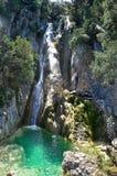 Водопад Potistis в южном острове Kefalonia, Ionian островах, Греции Стоковое Фото