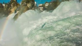 Водопад Rhine Falls в Швейцарии сток-видео