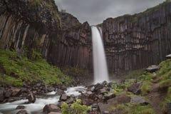 Водопад Skaftafell Svartifoss стоковые фото