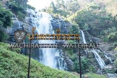 Водопад Wachirathan на национальном парке Doi Inthanon, районе Mae Chaem, провинции Чиангмая, Таиланде стоковая фотография rf