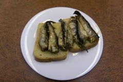 Водочка и комплект сандвичей с шпротинами, и икрой, луком и петрушкой, на деревянной предпосылке Взгляд сверху скопируйте космос стоковое изображение