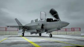 Военная база воздуха США американца реактивный истребитель F-35 Реалистическая анимация CG