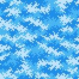 Военная голубая картина пиксела камуфлирования плавно tileable иллюстрация вектора