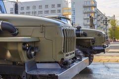 Военное транспортное средство на улице стоковое фото rf