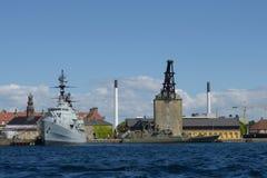 Военные корабли в Копенгагене Стоковая Фотография RF