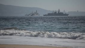Военные корабли на море сток-видео