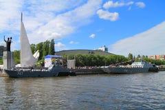 Военные корабли на обваловке реки Pregolya Стоковое Фото