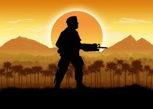 Военные силы в ситуации джунглей иллюстрация вектора