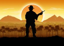 Военные силы в ситуации джунглей иллюстрация штока