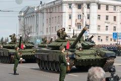 Военные транспортные средства на репетиции военного парада Стоковая Фотография RF