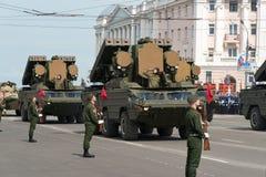 Военные транспортные средства на репетиции военного парада Стоковое Изображение