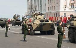 Военные транспортные средства на репетиции военного парада Стоковые Фотографии RF