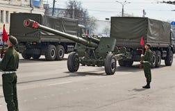 Военные транспортные средства на репетиции военного парада Стоковое фото RF