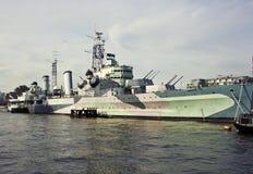 Военный корабль HMS Белфаста стоковое фото rf